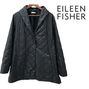 Eileen Fisher Black Diamond Quilted Coat 16